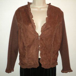 Bagatelle Size L Cardigan Sweater Brown Knit/Suede